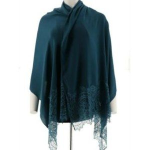 Isaac Mizrahi Live! Woven Scarf with Lace Trim 880